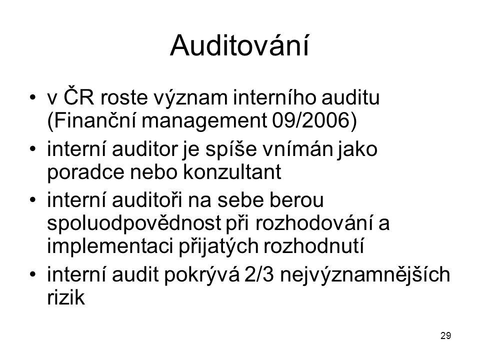 29 Auditování v ČR roste význam interního auditu (Finanční management 09/2006) interní auditor je spíše vnímán jako poradce nebo konzultant interní auditoři na sebe berou spoluodpovědnost při rozhodování a implementaci přijatých rozhodnutí interní audit pokrývá 2/3 nejvýznamnějších rizik