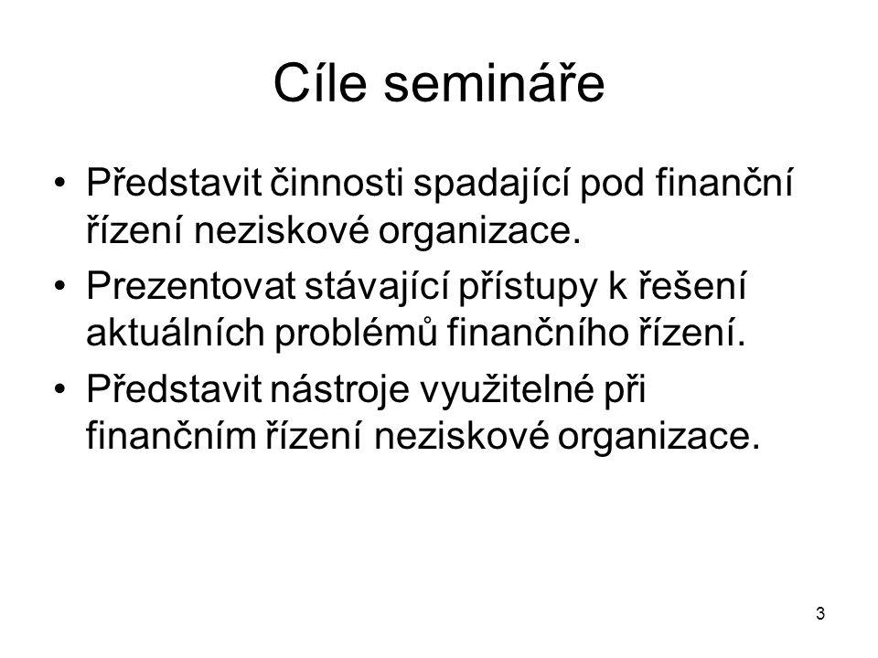3 Cíle semináře Představit činnosti spadající pod finanční řízení neziskové organizace. Prezentovat stávající přístupy k řešení aktuálních problémů fi