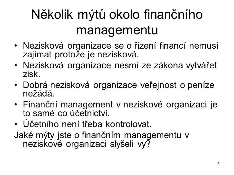4 Několik mýtů okolo finančního managementu Nezisková organizace se o řízení financí nemusí zajímat protože je nezisková. Nezisková organizace nesmí z