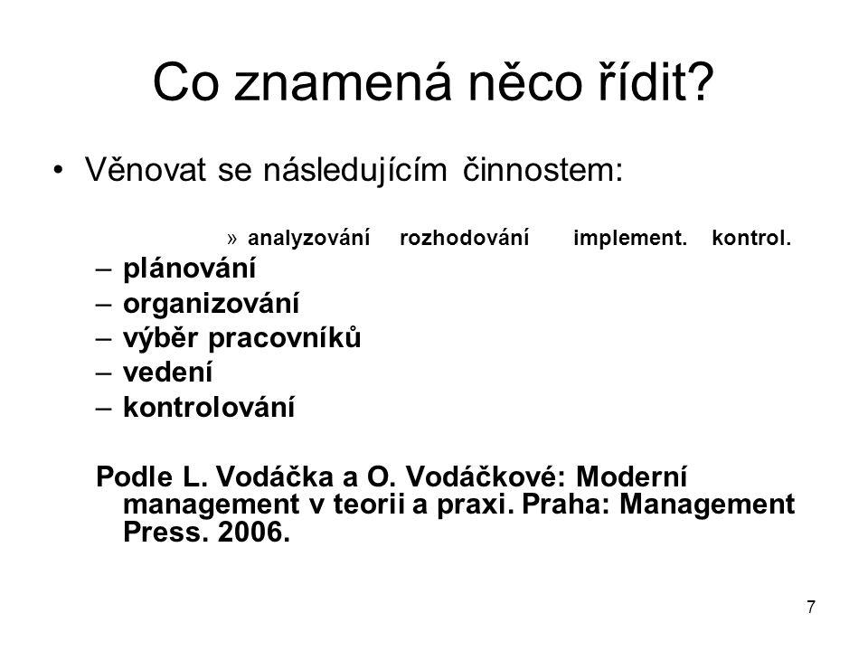 7 Co znamená něco řídit? Věnovat se následujícím činnostem: »analyzovánírozhodováníimplement. kontrol. –plánování –organizování –výběr pracovníků –ved