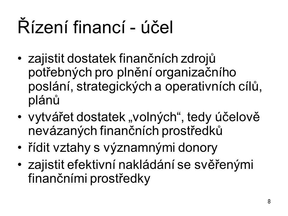"""8 Řízení financí - účel zajistit dostatek finančních zdrojů potřebných pro plnění organizačního poslání, strategických a operativních cílů, plánů vytvářet dostatek """"volných , tedy účelově nevázaných finančních prostředků řídit vztahy s významnými donory zajistit efektivní nakládání se svěřenými finančními prostředky"""