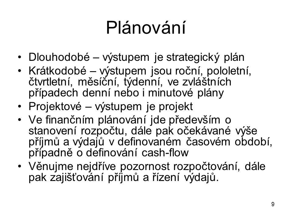 9 Plánování Dlouhodobé – výstupem je strategický plán Krátkodobé – výstupem jsou roční, pololetní, čtvrtletní, měsíční, týdenní, ve zvláštních případe