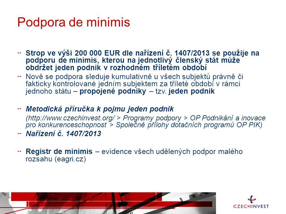 Podpora de minimis Strop ve výši 200 000 EUR dle nařízení č.