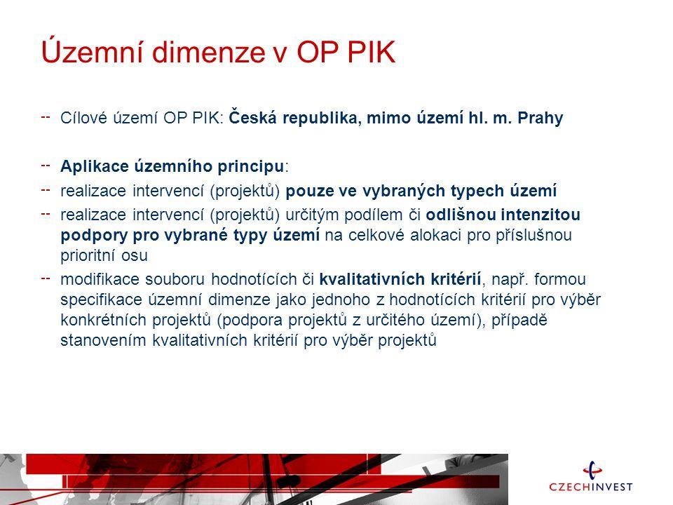 Územní dimenze v OP PIK Cílové území OP PIK: Česká republika, mimo území hl.