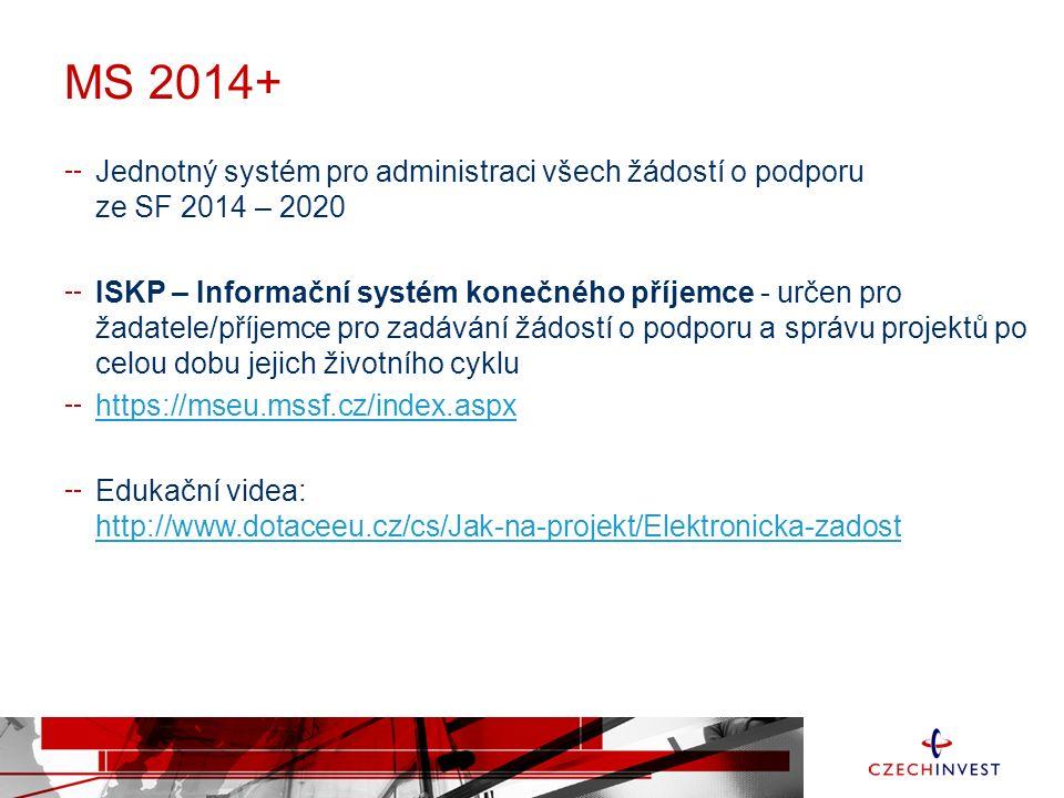 MS 2014+ Jednotný systém pro administraci všech žádostí o podporu ze SF 2014 – 2020 ISKP – Informační systém konečného příjemce - určen pro žadatele/příjemce pro zadávání žádostí o podporu a správu projektů po celou dobu jejich životního cyklu https://mseu.mssf.cz/index.aspx Edukační videa: http://www.dotaceeu.cz/cs/Jak-na-projekt/Elektronicka-zadost http://www.dotaceeu.cz/cs/Jak-na-projekt/Elektronicka-zadost