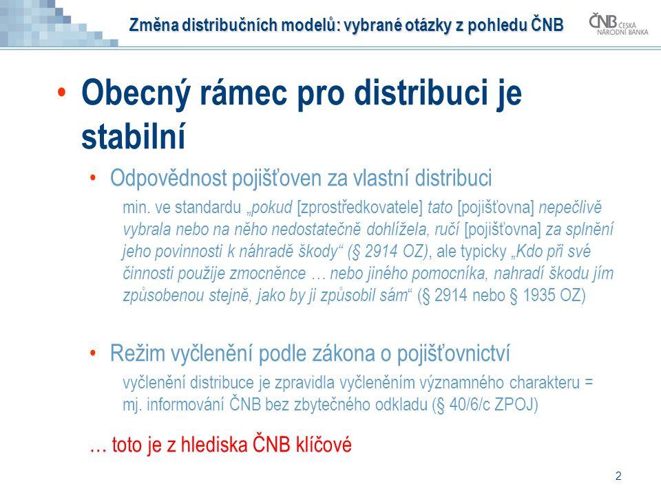 Změna distribučních modelů: vybrané otázky z pohledu ČNB Obecný rámec pro distribuci je stabilní Odpovědnost pojišťoven za vlastní distribuci min.