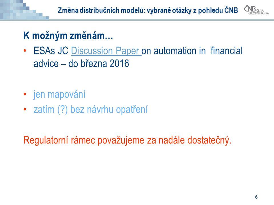 K možným změnám… ESAs JC Discussion Paper on automation in financial advice – do března 2016Discussion Paper jen mapování zatím ( ) bez návrhu opatření Regulatorní rámec považujeme za nadále dostatečný.