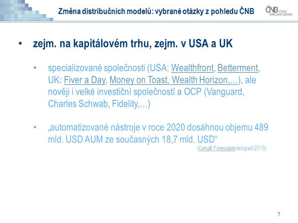 7 zejm. na kapitálovém trhu, zejm. v USA a UK specializované společnosti (USA: Wealthfront, Betterment, UK: Fiver a Day, Money on Toast, Wealth Horizo