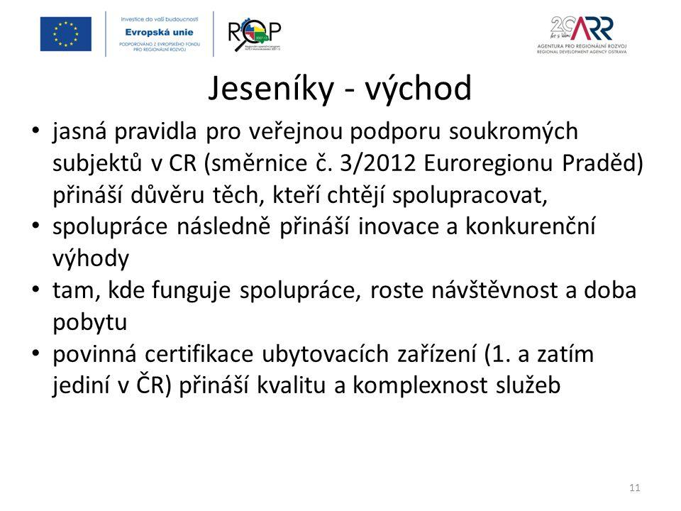 Jeseníky - východ 11 jasná pravidla pro veřejnou podporu soukromých subjektů v CR (směrnice č.