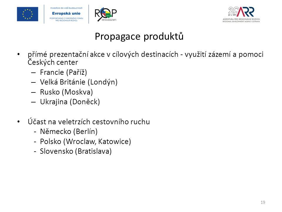 Propagace produktů přímé prezentační akce v cílových destinacích - využití zázemí a pomoci Českých center – Francie (Paříž) – Velká Británie (Londýn) – Rusko (Moskva) – Ukrajina (Doněck) Účast na veletrzích cestovního ruchu - Německo (Berlín) - Polsko (Wroclaw, Katowice) - Slovensko (Bratislava) 19