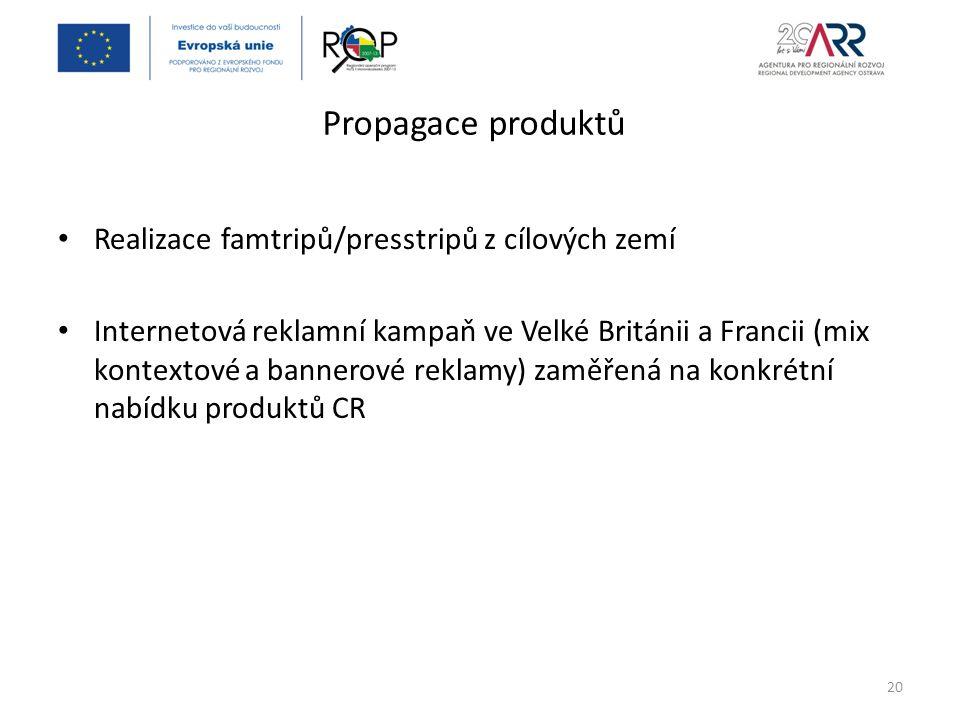 Propagace produktů Realizace famtripů/presstripů z cílových zemí Internetová reklamní kampaň ve Velké Británii a Francii (mix kontextové a bannerové reklamy) zaměřená na konkrétní nabídku produktů CR 20