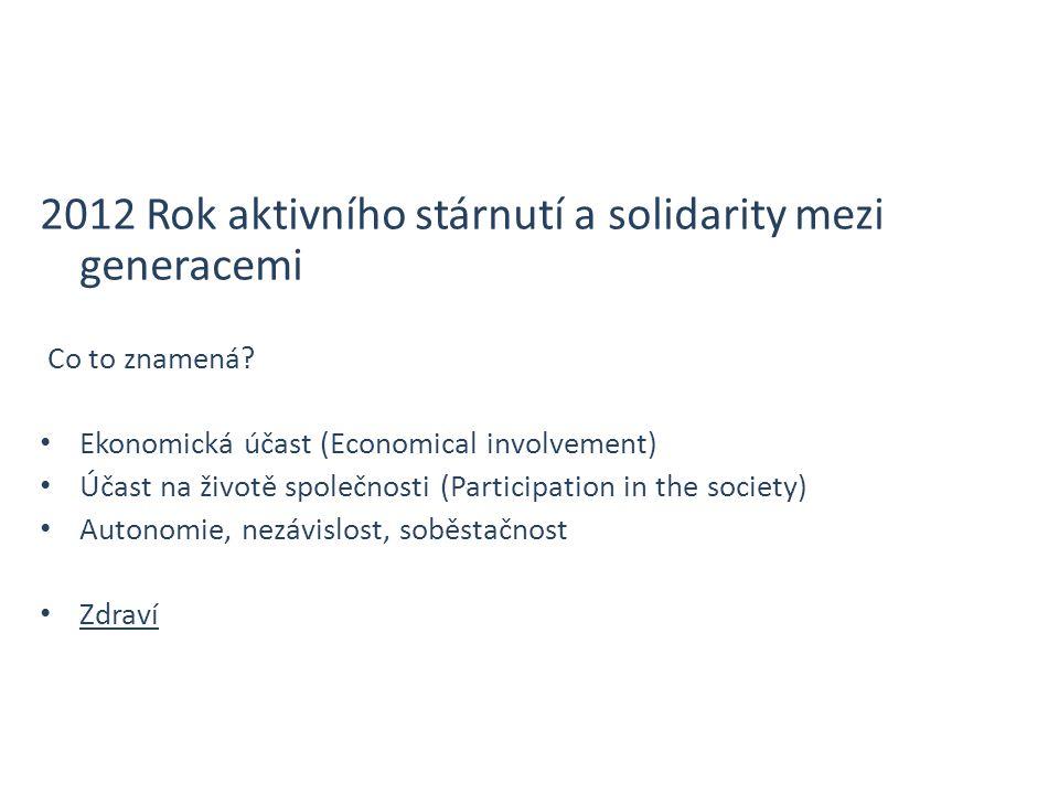 2012 Rok aktivního stárnutí a solidarity mezi generacemi Co to znamená.