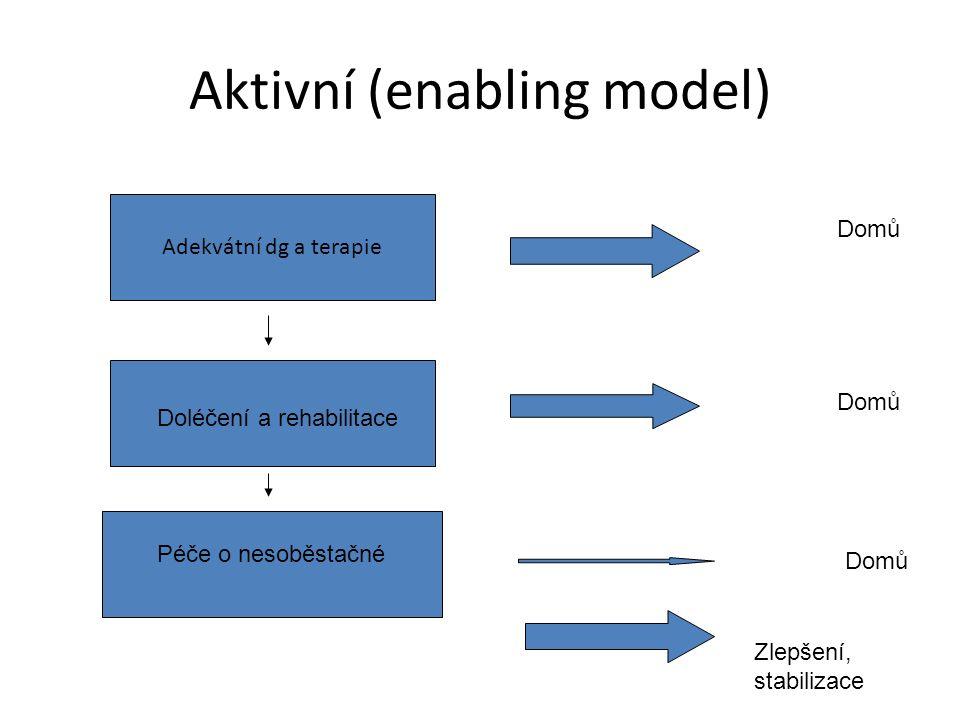 Aktivní (enabling model) Adekvátní dg a terapie Doléčení a rehabilitace Péče o nesoběstačné Domů Zlepšení, stabilizace