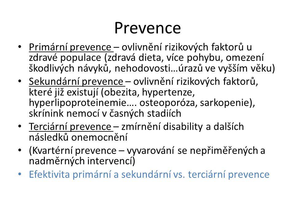 Prevence Primární prevence – ovlivnění rizikových faktorů u zdravé populace (zdravá dieta, více pohybu, omezení škodlivých návyků, nehodovosti…úrazů ve vyšším věku) Sekundární prevence – ovlivnění rizikových faktorů, které již existují (obezita, hypertenze, hyperlipoproteinemie….