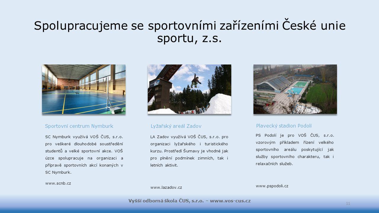 Spolupracujeme se sportovními zařízeními České unie sportu, z.s. Sportovní centrum Nymburk SC Nymburk využívá VOŠ ČUS, s.r.o. pro veškeré dlouhodobé s