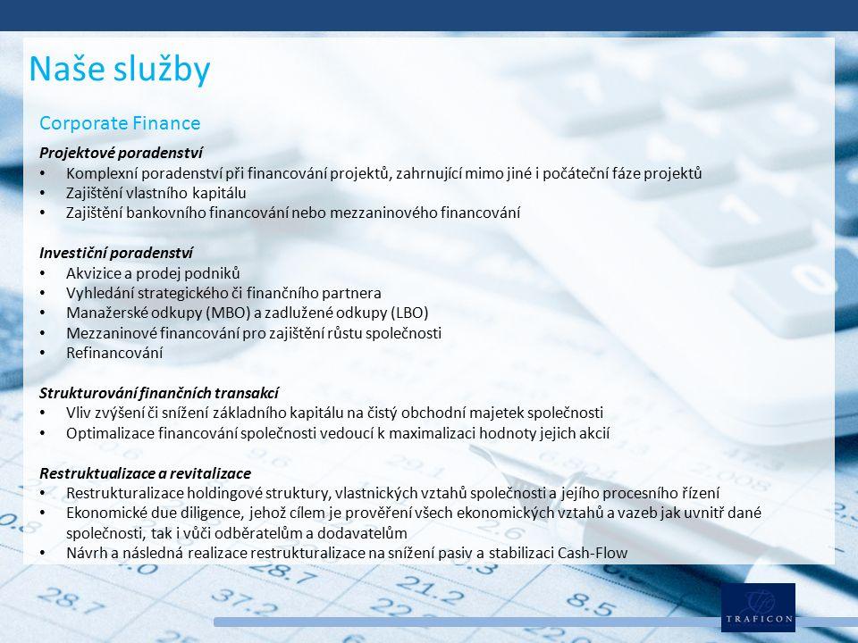 Corporate Finance Projektové poradenství Komplexní poradenství při financování projektů, zahrnující mimo jiné i počáteční fáze projektů Zajištění vlastního kapitálu Zajištění bankovního financování nebo mezzaninového financování Investiční poradenství Akvizice a prodej podniků Vyhledání strategického či finančního partnera Manažerské odkupy (MBO) a zadlužené odkupy (LBO) Mezzaninové financování pro zajištění růstu společnosti Refinancování Strukturování finančních transakcí Vliv zvýšení či snížení základního kapitálu na čistý obchodní majetek společnosti Optimalizace financování společnosti vedoucí k maximalizaci hodnoty jejich akcií Restruktualizace a revitalizace Restrukturalizace holdingové struktury, vlastnických vztahů společnosti a jejího procesního řízení Ekonomické due diligence, jehož cílem je prověření všech ekonomických vztahů a vazeb jak uvnitř dané společnosti, tak i vůči odběratelům a dodavatelům Návrh a následná realizace restrukturalizace na snížení pasiv a stabilizaci Cash-Flow Naše služby