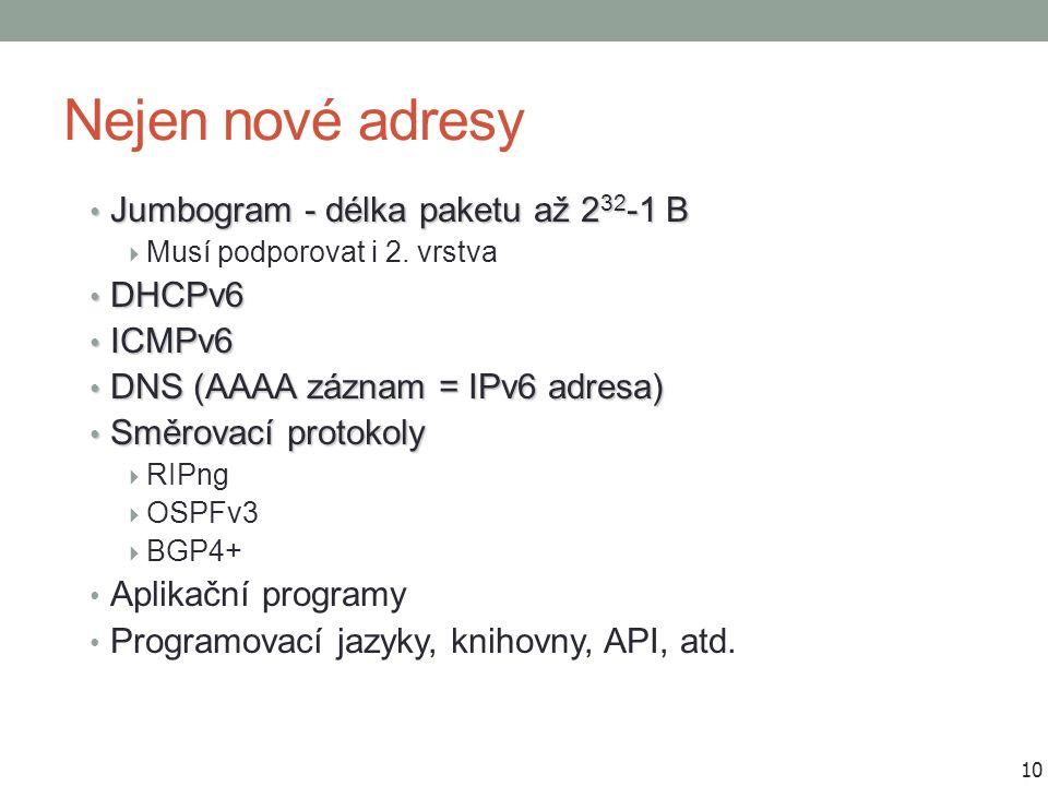 Nejen nové adresy Jumbogram - délka paketu až 2 32 -1 B Jumbogram - délka paketu až 2 32 -1 B  Musí podporovat i 2. vrstva DHCPv6 DHCPv6 ICMPv6 ICMPv