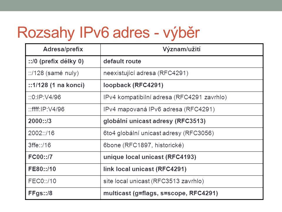 Rozsahy IPv6 adres - výběr Adresa/prefixVýznam/užití ::/0 (prefix délky 0)default route ::/128 (samé nuly)neexistující adresa (RFC4291) ::1/128 (1 na