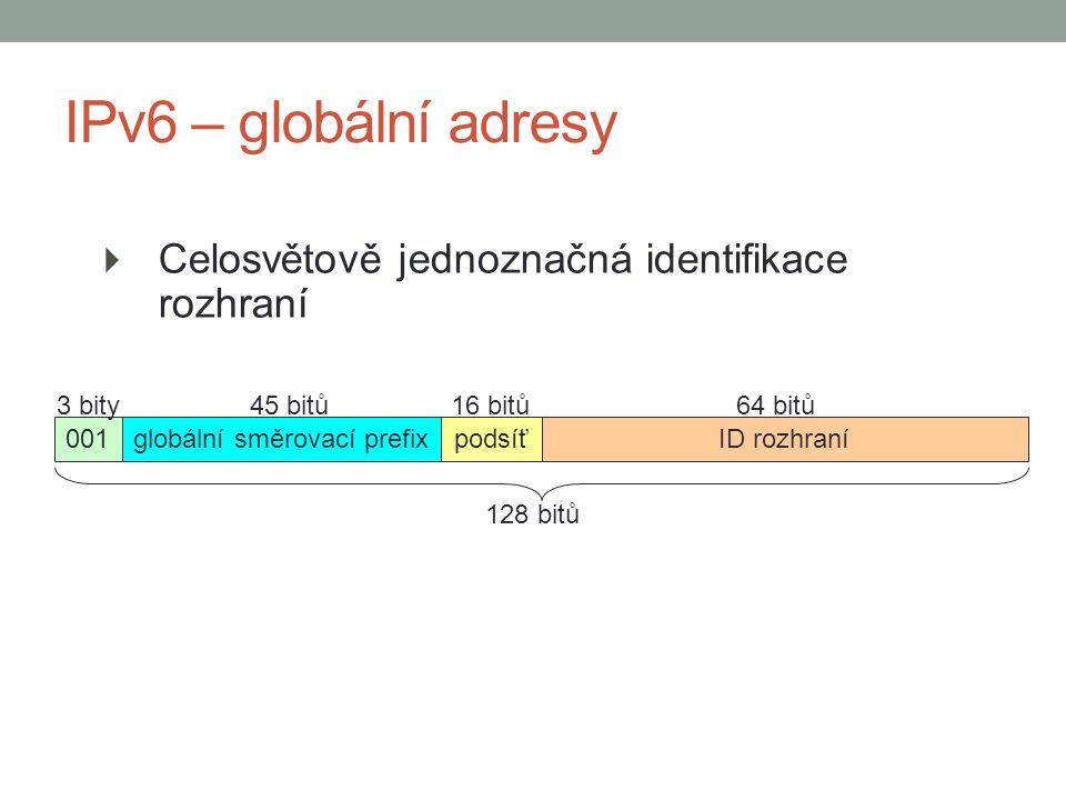  Celosvětově jednoznačná identifikace rozhraní IPv6 – globální adresy 001globální směrovací prefixpodsíťID rozhraní 128 bitů 3 bity45 bitů16 bitů64 bitů