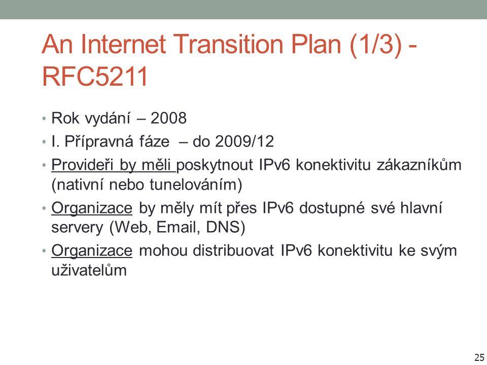 An Internet Transition Plan (1/3) - RFC5211 Rok vydání – 2008 I. Přípravná fáze – do 2009/12 Provideři by měli poskytnout IPv6 konektivitu zákazníkům