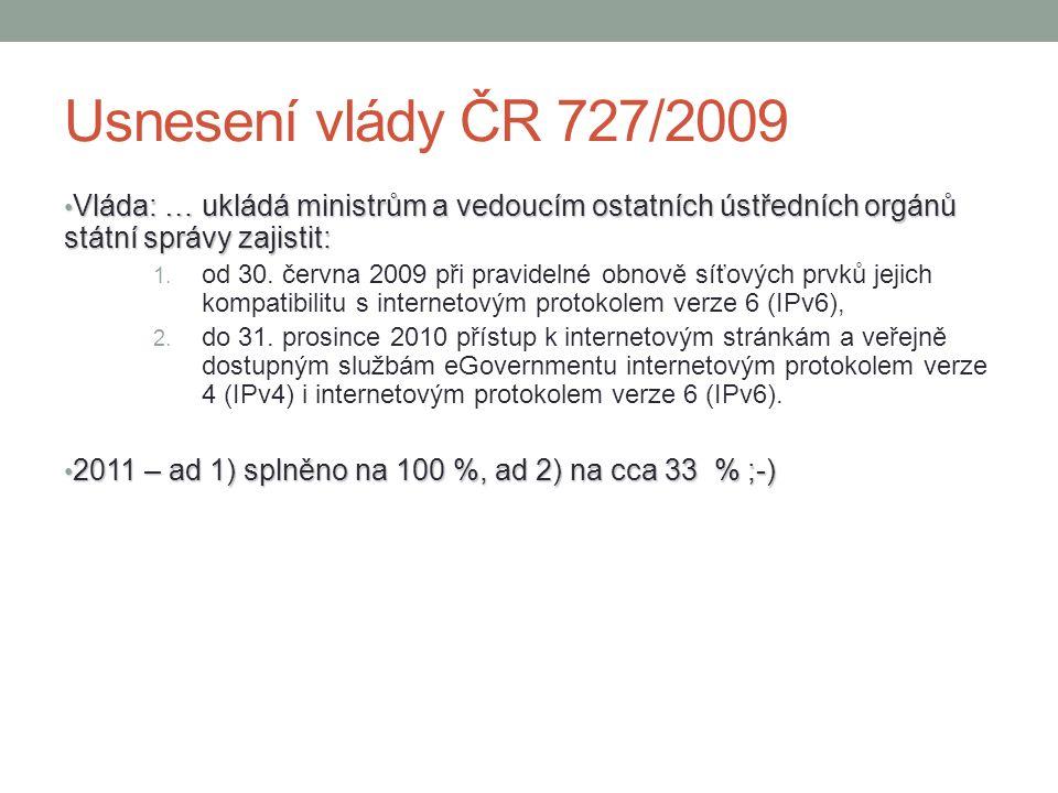 Usnesení vlády ČR 727/2009 Vláda: … ukládá ministrům a vedoucím ostatních ústředních orgánů státní správy zajistit: Vláda: … ukládá ministrům a vedouc