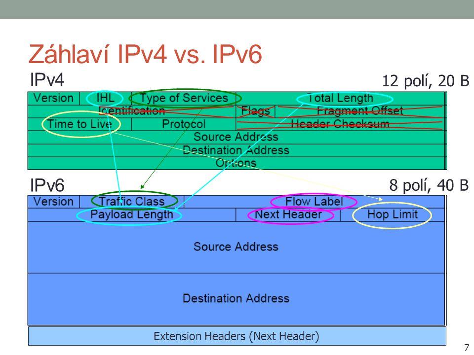"""Koncepce rozšiřujících záhlaví (Extension Headers) Každé v samostatném bloku Zřetězení pomocí položky Next header Pořadí předepsáno, a to """"po vrstvách Při dopravě jsou vždy zpracovávána jen relevantní záhlaví V posledním identifikace typu protokolu transportní vrstvy ( Protocol - IPv4) 8"""