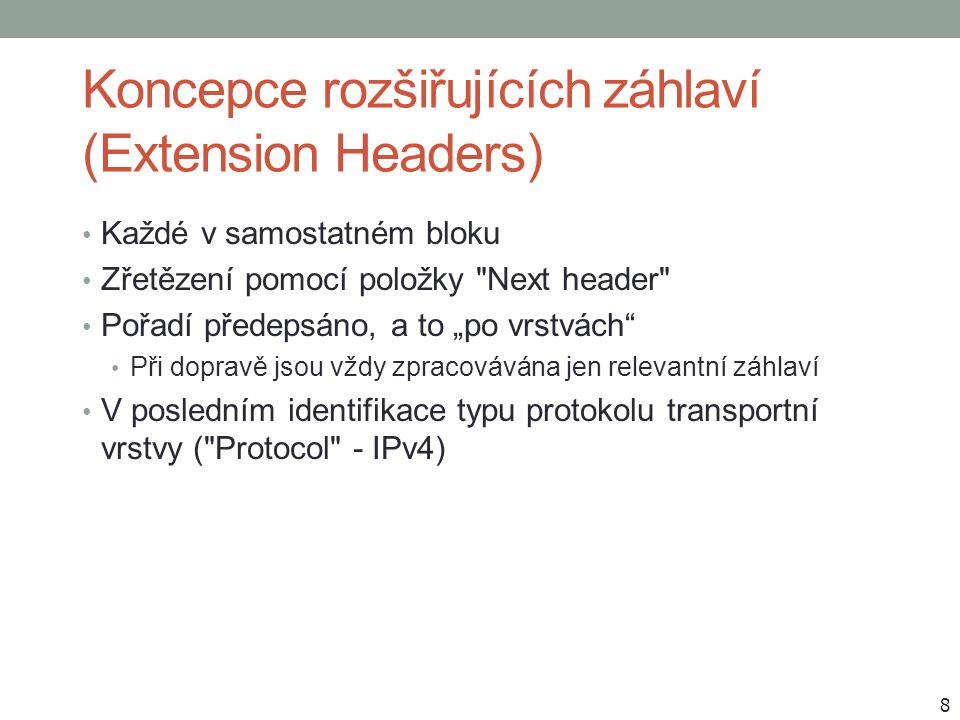 """Příklady zřetězení rozšiřujících záhlaví 9 RH ovšem v RFC 5095 zavržen (""""source routing )"""