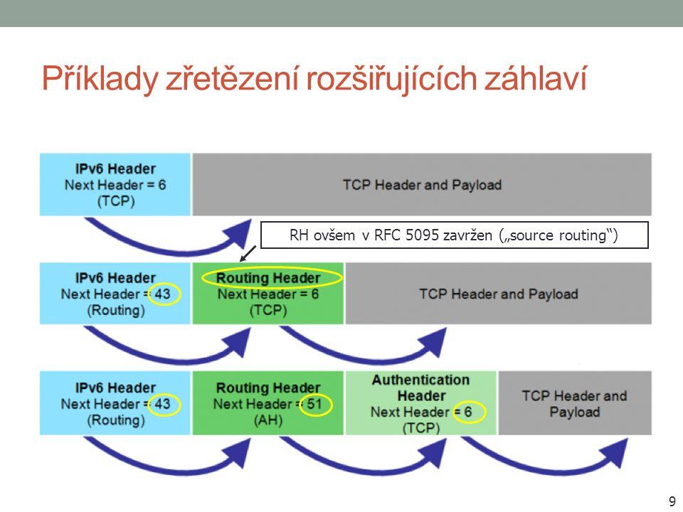 """Příklady zřetězení rozšiřujících záhlaví 9 RH ovšem v RFC 5095 zavržen (""""source routing"""")"""