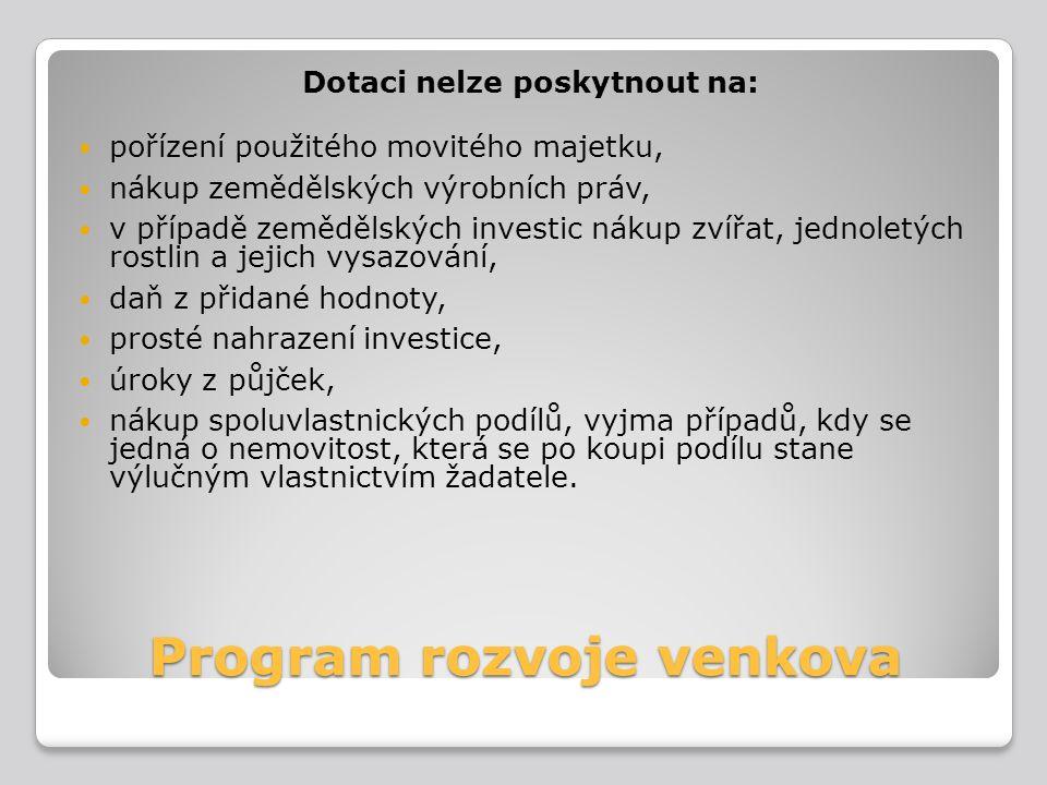 Program rozvoje venkova Dotaci nelze poskytnout na: pořízení použitého movitého majetku, nákup zemědělských výrobních práv, v případě zemědělských inv