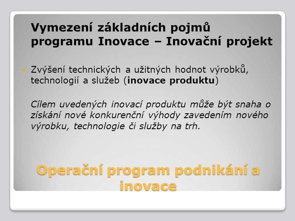 Operační program podnikání a inovace Vymezení základních pojmů programu Inovace – Inovační projekt Zvýšení technických a užitných hodnot výrobků, tech