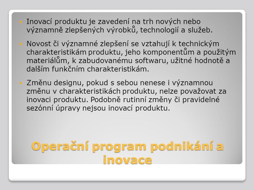 Operační program podnikání a inovace Inovací produktu je zavedení na trh nových nebo významně zlepšených výrobků, technologií a služeb. Novost či význ