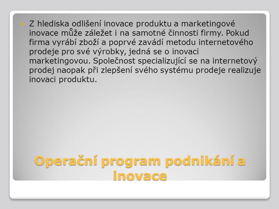 Operační program podnikání a inovace Z hlediska odlišení inovace produktu a marketingové inovace může záležet i na samotné činnosti firmy. Pokud firma