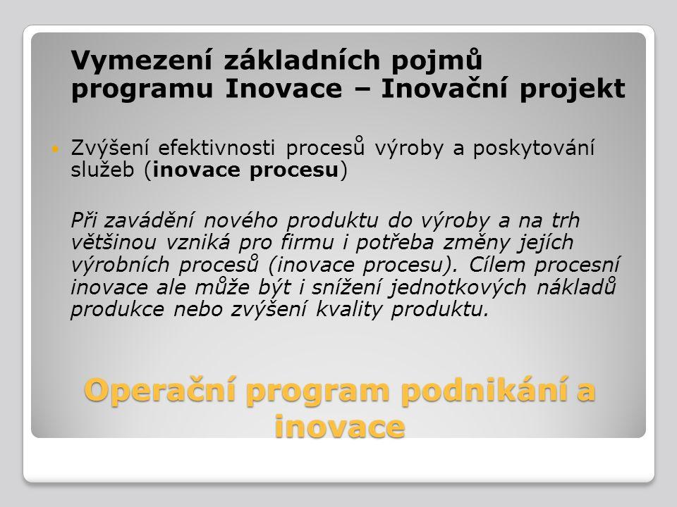 Operační program podnikání a inovace Vymezení základních pojmů programu Inovace – Inovační projekt Zvýšení efektivnosti procesů výroby a poskytování s