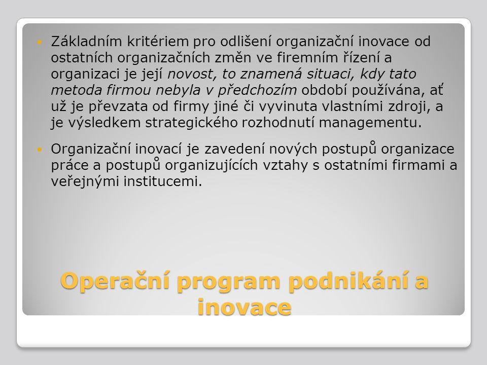 Operační program podnikání a inovace Základním kritériem pro odlišení organizační inovace od ostatních organizačních změn ve firemním řízení a organiz