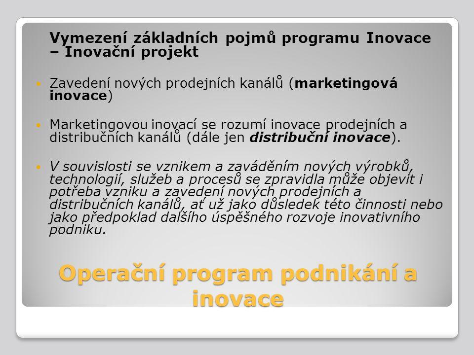Operační program podnikání a inovace Vymezení základních pojmů programu Inovace – Inovační projekt Zavedení nových prodejních kanálů (marketingová ino