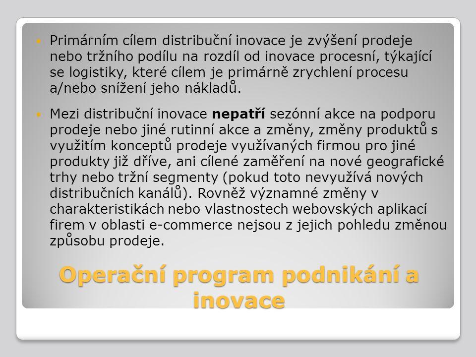 Operační program podnikání a inovace Primárním cílem distribuční inovace je zvýšení prodeje nebo tržního podílu na rozdíl od inovace procesní, týkajíc