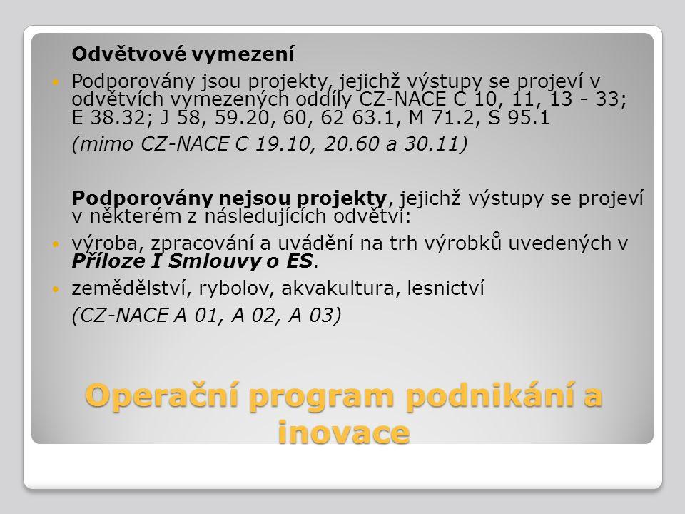 Operační program podnikání a inovace Odvětvové vymezení Podporovány jsou projekty, jejichž výstupy se projeví v odvětvích vymezených oddíly CZ-NACE C