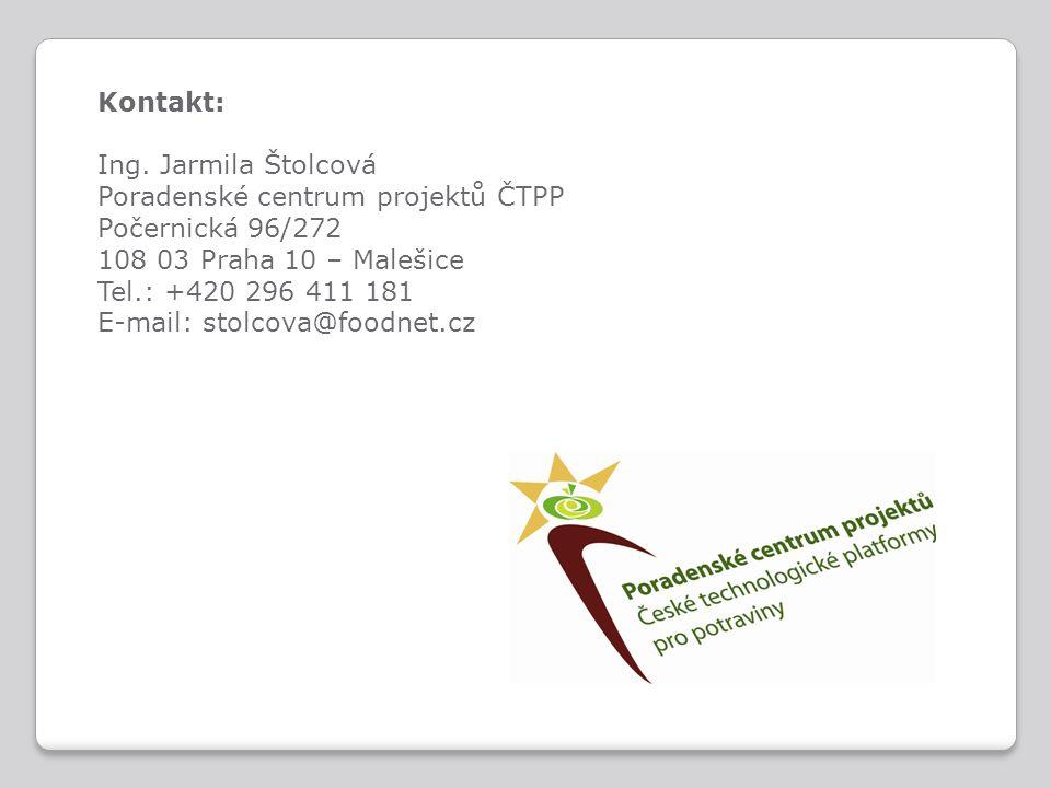 Kontakt: Ing. Jarmila Štolcová Poradenské centrum projektů ČTPP Počernická 96/272 108 03 Praha 10 – Malešice Tel.: +420 296 411 181 E-mail: stolcova@f