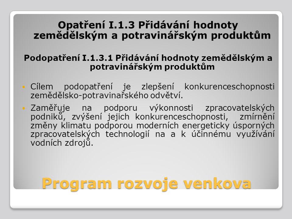 Program rozvoje venkova Opatření I.1.3 Přidávání hodnoty zemědělským a potravinářským produktům Podopatření I.1.3.1 Přidávání hodnoty zemědělským a po