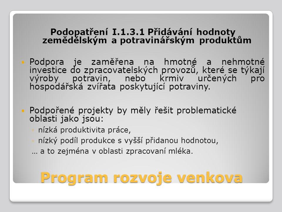 Program rozvoje venkova Podopatření I.1.3.1 Přidávání hodnoty zemědělským a potravinářským produktům Podpora je zaměřena na hmotné a nehmotné investic