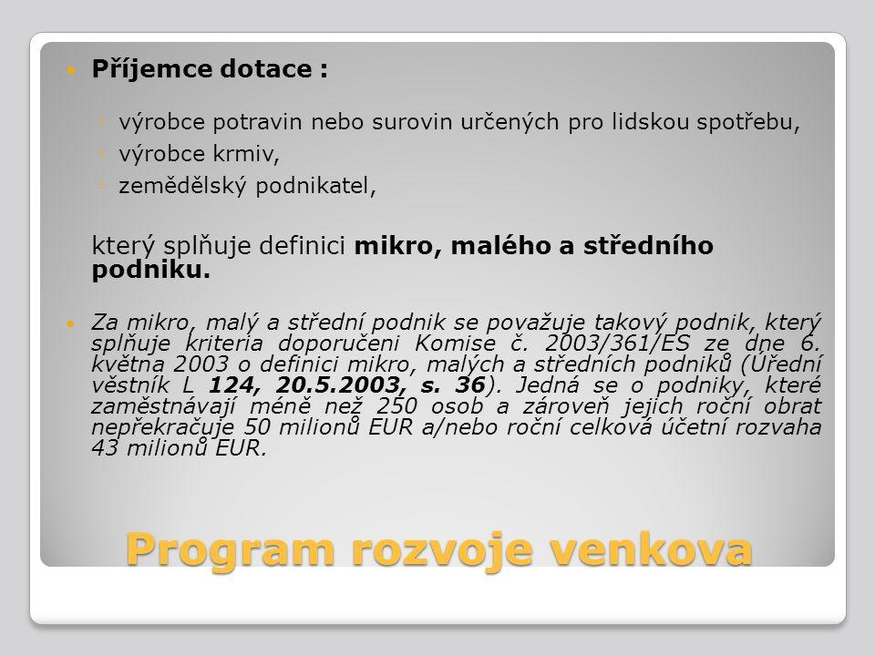 Operační program podnikání a inovace Formální podmínky přijatelnosti projektu Projekt musí být realizován na území České republiky mimo území hl.