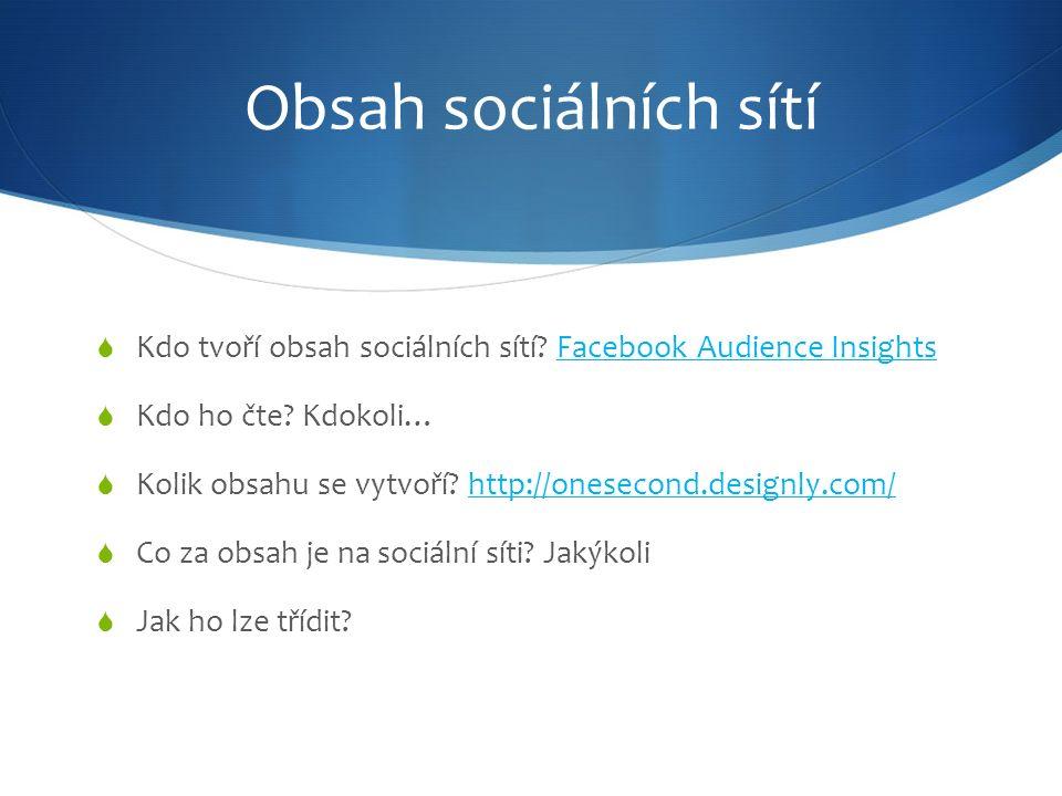 Obsah sociálních sítí  Kdo tvoří obsah sociálních sítí.