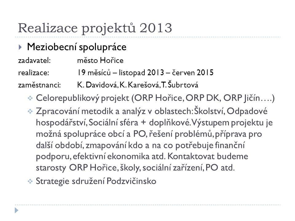  Meziobecní spolupráce zadavatel:město Hořice realizace:19 měsíců – listopad 2013 – červen 2015 zaměstnanci:K.
