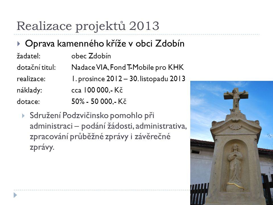 Realizace projektů 2013  Oprava kamenného kříže v obci Zdobín žadatel:obec Zdobín dotační titul: Nadace VIA, Fond T-Mobile pro KHK realizace:1.