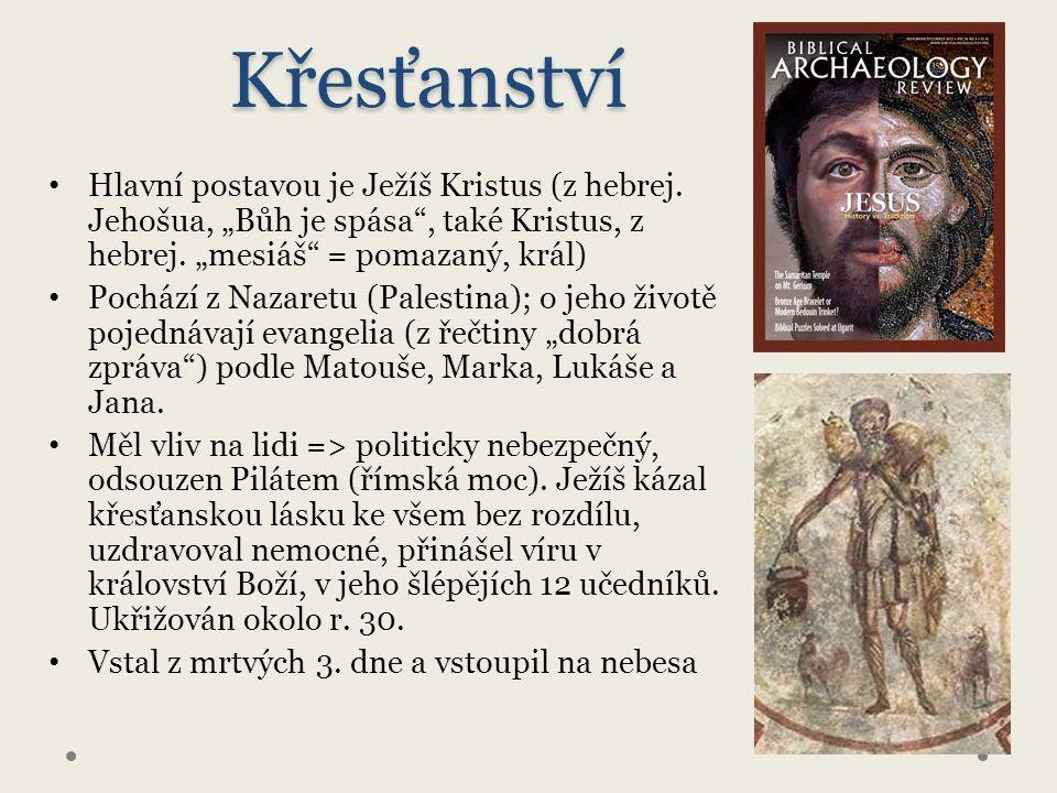 Křesťanství Hlavní postavou je Ježíš Kristus (z hebrej.