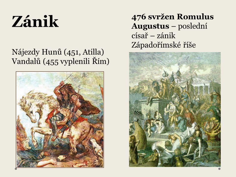 Nájezdy Hunů (451, Atilla) Vandalů (455 vyplenili Řím) 476 svržen Romulus Augustus – poslední císař – zánik Západořímské říše Zánik