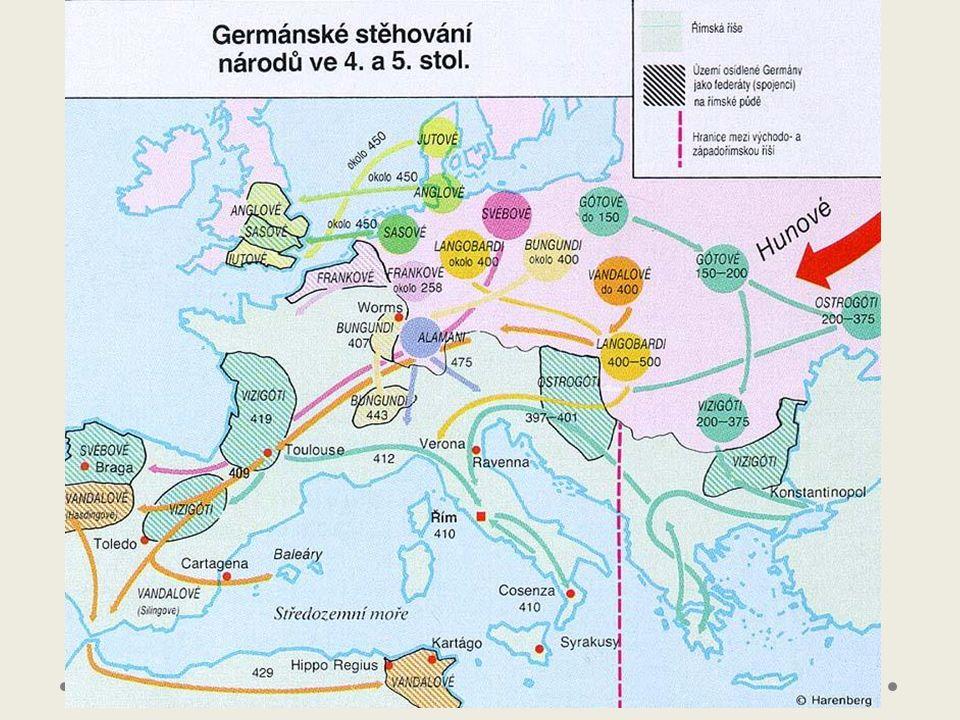 Stěhování národů migrace velkých kmenů (od konce 4.-8.