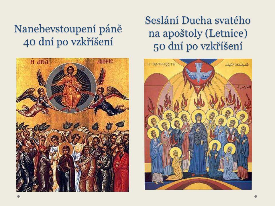Nanebevstoupení páně 40 dní po vzkříšení Seslání Ducha svatého na apoštoly (Letnice) 50 dní po vzkříšení