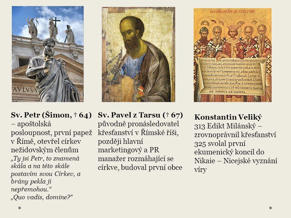 """Sv. Petr (Šimon, † 64) – apoštolská posloupnost, první papež v Římě, otevřel církev nežidovským členům """"Ty jsi Petr, to znamená skála a na této skále"""