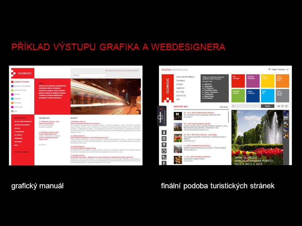 grafický manuálfinální podoba turistických stránek PŘÍKLAD VÝSTUPU GRAFIKA A WEBDESIGNERA